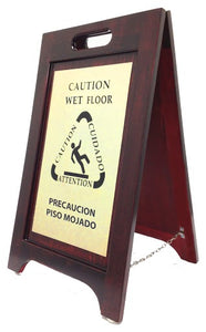 H1S Wooden Wet Floor Sign - Bilingual - 2/case