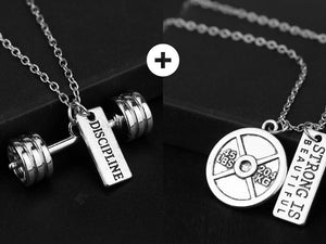 Fitness Necklace with Quotes - GYM/Fitness/Weightlifting/Crossfit - Jewelry