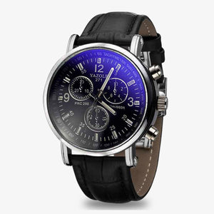 YAZOLE Business Faux Leather Strap Blue Ray Glass - Watch