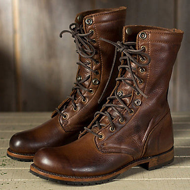 Steampunk Lace Up Flat Boots in Gradient Brown