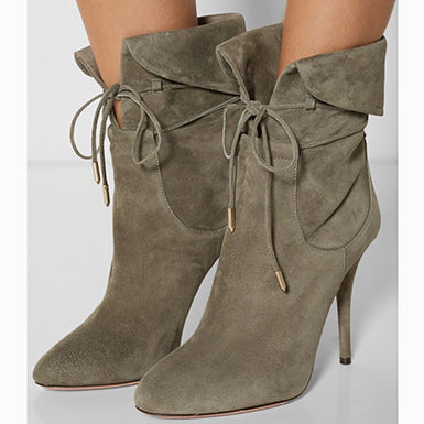 Lace Up Light Army Green Ankle Boots Stiletto Boots