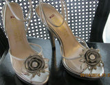 Clearance E Live From The Red Carpet Women's Gray Crystal Floral Stiletto High Heel Sandals Size 8- ONE LEFT - Bad Ass Shoes