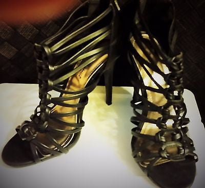 Clearance Anne Michelle Strapy Sandals High Heels Black 38 = Size 8 New without box - Bad Ass Shoes