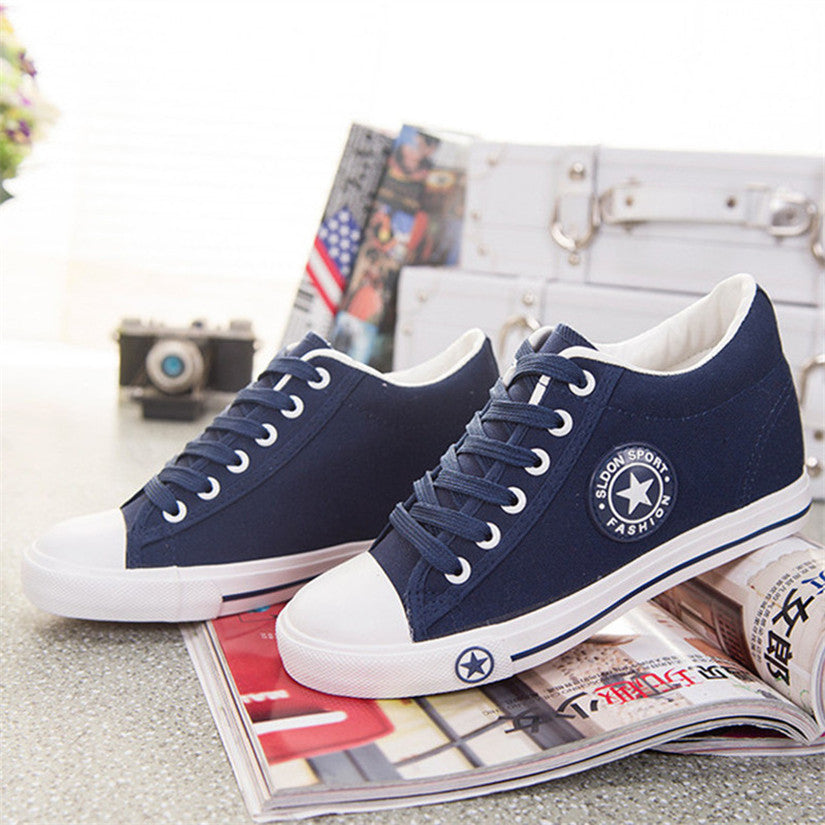 ... Summer Sneakers Wedges Canvas Shoes Women Casual Shoes Female Cute  White Basket Stars Zapatos Mujer Trainers ... e35f22b4c276