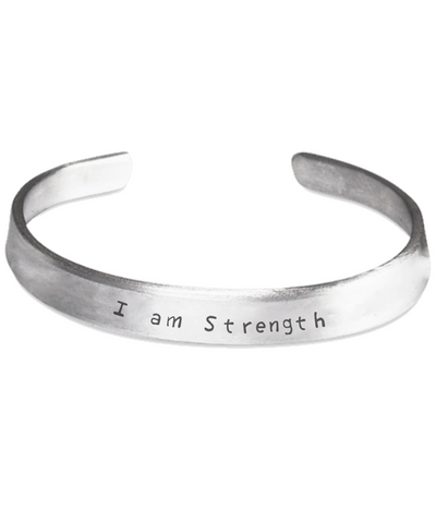 I am Strength. Our Custom Line Stamped Cuff Statement Bracelet