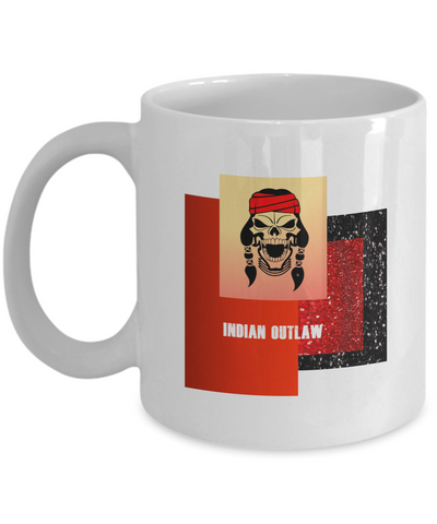 Indian Outlaw White Mug - Bad Ass Shoes
