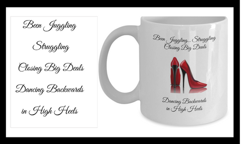White Coffee Mug Dancing Backwards in High Heels