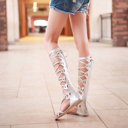 afabc746f42 ... Sexy Roman Lace Up Hollow Out Strappy Flat Knee High Mid Calf Gladiator  Sandals - Bad ...