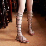 Sexy Roman Lace Up Hollow Out Strappy Flat Knee High Mid Calf Gladiator Sandals - Bad Ass Shoes