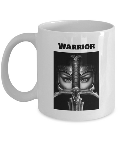 Warrior in Full Armor White Coffee Mug - Bad Ass Shoes