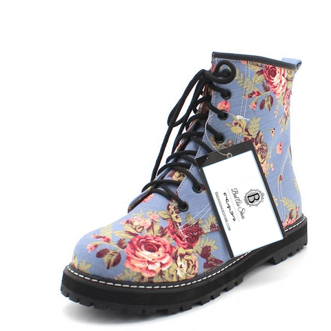 Floral Flat Ankle Boots - A Vintage Classic,  Blue, Floral Denim Womens' Lace Up British Style Boots