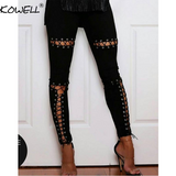 Top Selling Women's Stretchy Faux Suede Steampunk Lace Up Pencil Pants