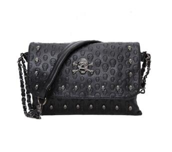 VISON&JOHNSON Fashion Skull Women Rivet Cross+Shoulder+Messenger Bags/Envelope Clutch+Vintage Punk Hippie Bag Sac a main femme