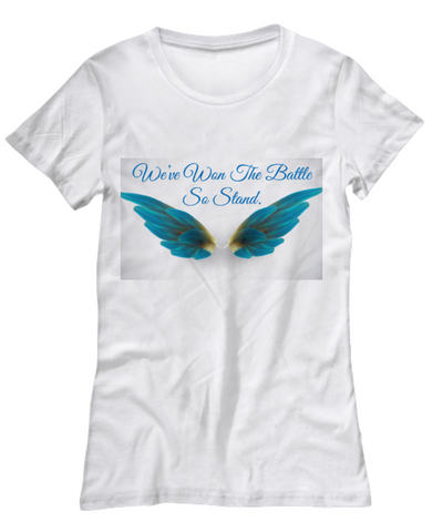 Angels All Around White Women T-Shirt in sparkle and turquoise colors - Bad Ass Shoes