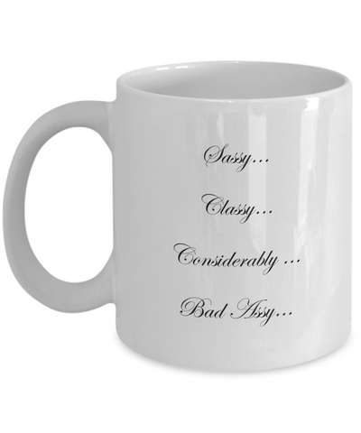 Classy Sassy White 11oz Coffee Mug - Bad Ass Shoes