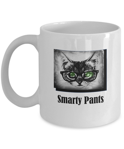 Smarty Pants White Coffee Mug - Bad Ass Shoes