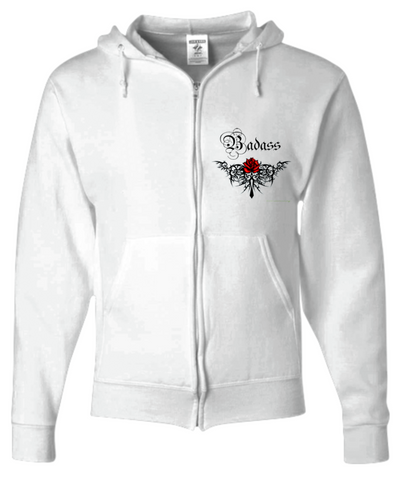 Womens White Bad Ass Zip Up Hoodie (Optional Matching Leggings) sold separate Plus Sizes Available - Bad Ass Shoes