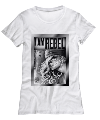 Womens White T-Shirt I am Rebel - Bad Ass Shoes