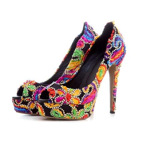 Floral Cloth Upper Fashion Elegant Women Thin High Heel Summer Pumps Dress Shoes - Bad Ass Shoes