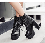 Women Ankle Boots Punk Gothic Black Boots with Rivets