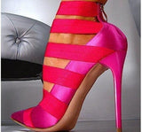 Ladies Club Sexy Pointed Toe High Heel Sandals in Pink