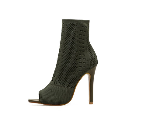 Elastic Knit Sock Open Toe High Heel Ankle Boots in Army Green and Black