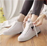 Women's Warm and Comfortable Hi-Top Sneakers in White, Pink, and Black