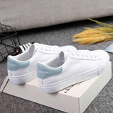 Women's White Leather PU  Lace Up Casual Low Top Sneakers