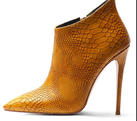 Caramel Snakeskin Pattern  High Heels Ankle Boots