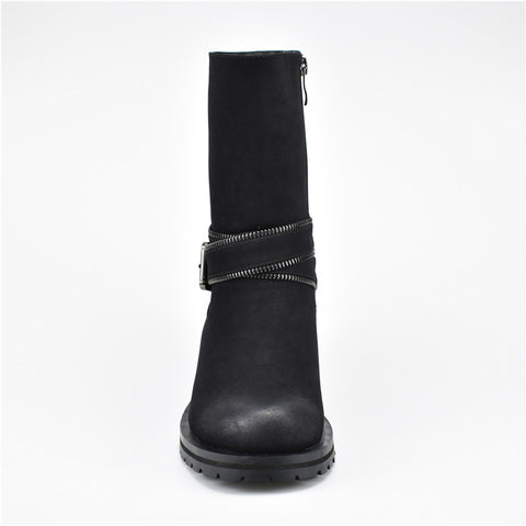 Savior Side Zip Buckle Strap Mid Calf Boots For Women