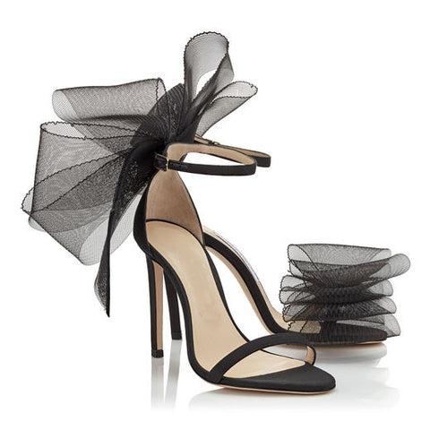 Stunning Sheer Tulle Bowtie High Heel Stilettos for Women in Black or White