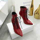 Luxury Black, White or Red Crocodile Print Pointed Toe Lace Up Ankle Boots