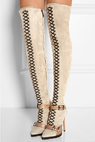 Sexy Stretch  Over The Knee Lace-up  Suede  Buckle Boots