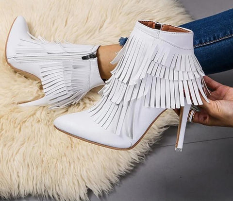 Winter White High Heel Pointed Toe Fringed Ankle Boots