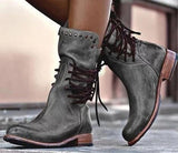 New Release Lace-up Riveted Motorcycle Ankle Boots
