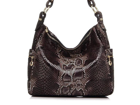 Genuine leather serpentine print large shoulder Handbag