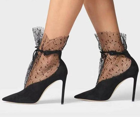Suede Mesh Pointed Toe Lace Up High Heel  Ankle Boots