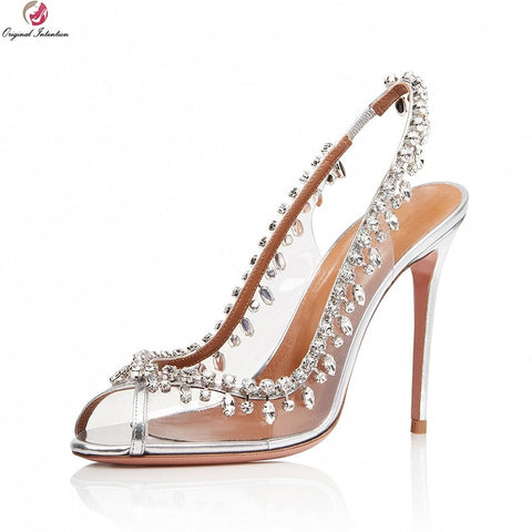 Gorgeous Crystal Peep Toe High Heels