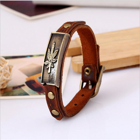 Punk Style Alloy Leather Bracelet Maple Leaf Bracelet Wristband For Women Fashion Jewelry - Bad Ass Shoes