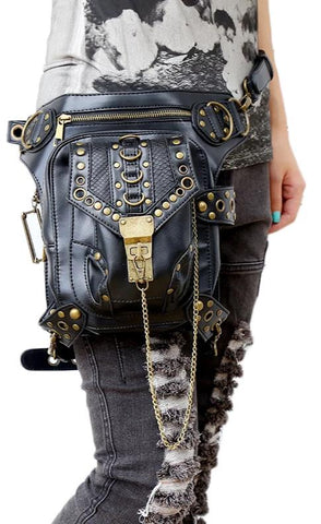 Hot sale PU Leather Punk Retro Rock Gothic Shoulder Bag Men women Leather Waist Bag Packs Women Messenger fashion leg bag - Bad Ass Shoes
