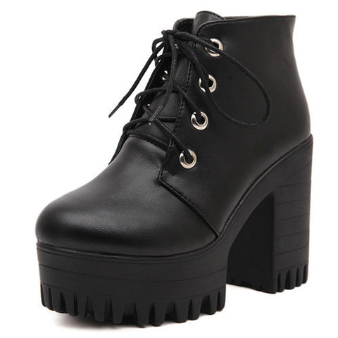 Designer Women's  Black High Heels Boots Lacing Platform Ankle Boots Chunky Size 35-39 - Bad Ass Shoes