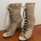 Womens Ankle Boot Gladiator High Heel Stiletto Lace Up Boots With Pointed Heel - Bad Ass Shoes