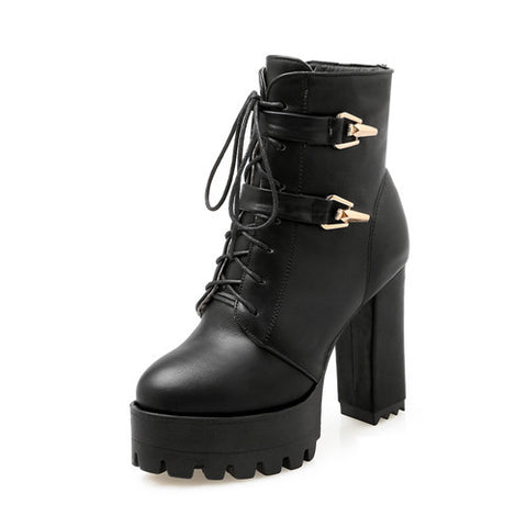 Gdgydh Spring Autumn Lace Up Women Boots High Heels Shoes Fashion Platform Square Heels Black Buckle Ankle boots Plus Size 43 - Bad Ass Shoes