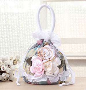 Women's casual bucket bag purse tote high quality with beautiful flowers - Bad Ass Shoes