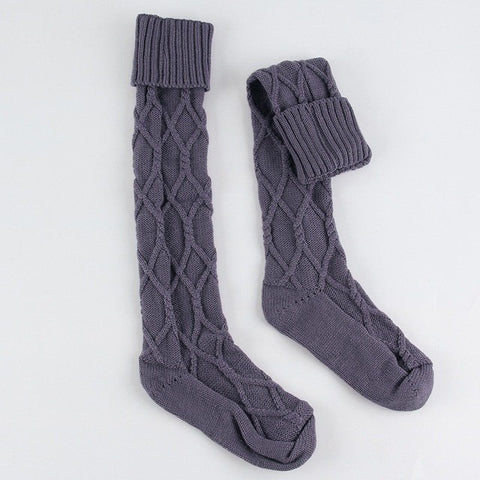 College Style Turn Up Rib Wool Blend Socks Women Winter Warm Socks Thigh High Over The Knee Knitted Socking Long Boot Socks - Bad Ass Shoes