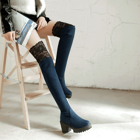 Winter New High Heel Boots Leisure Elegant  Heels Sexy Women Shoes Boots Round Toe Thin Heel Leather Boots - Bad Ass Shoes