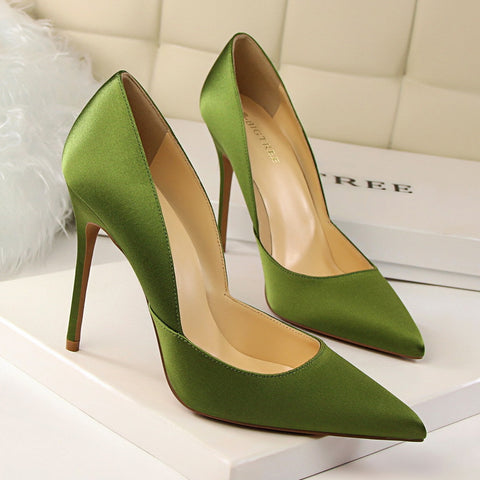 Women Elegant Satin Pumps European Fashion High Heeled Shoes Shallow Thin Hollow Pointed Sexy Female Shoes G2577-2 - Bad Ass Shoes