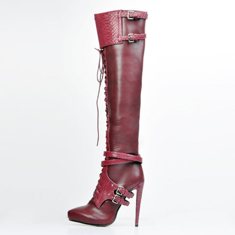 Unique, Beautiful Steampunk Knee High Lace Up Boots with Pointed Heel in Cool Wine Red - Bad Ass Shoes