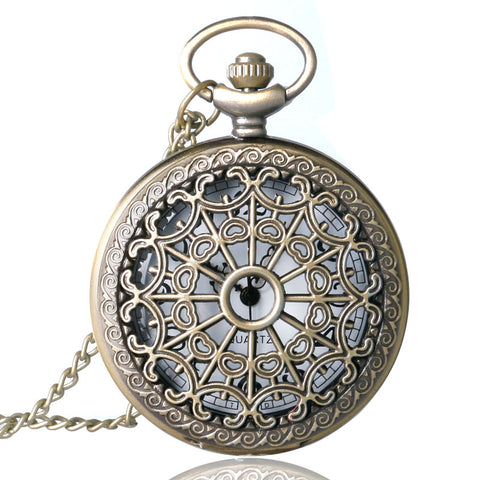 Relogio De Bolso Bronze Antique Vintage Quartz Steampunk Pocket Watch Spider Web Hollow Women Men Pendant Necklace Chain Gifts - Bad Ass Shoes