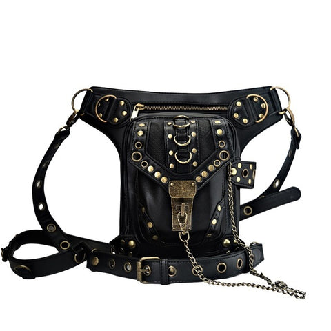 Steampunk General Mobile Phone Bag Mini Leg Bag Travel Men Women's Handbag Retro Rock Gothic Leather Waist Mochilas - Bad Ass Shoes